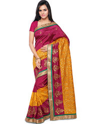 Nanda Silk Mills Embroidered Art Silk Magenta Saree -am05