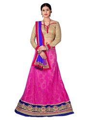 Khushali Fashion Embroidered Net Lehenga Choli(Rani,Beige)_ASFN2A119RANI