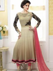 Adah Fashions Net & Georgette Embroidered Semi Stitched Suit - Beige