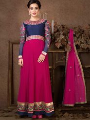 Adah Fashions Georgette Embroidered Semi Stitched Suit - Blue & Pink