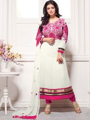 Adah Fashions Georgette Embroidered Anarkali Suit - White & Pink - 658-1012