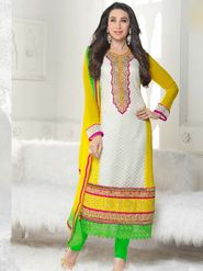 Adah Fashions Georgette Embroidered A-Line Salwar Suit - Multicolor - 673-5111
