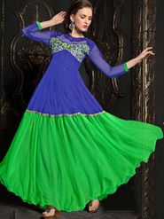 Adah Fashions Soft Net Embroidered Semi Stitched Suit - Blue & Green