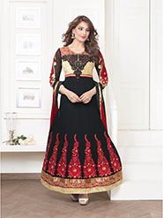 Adah Fashions Embroidered Pure Bemberg Semi-Stitched Anarkali Suit - Black - 430-1009