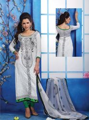 Adah Fashions Cotton Satin Embroidered Semi Stitched Dress Material - White