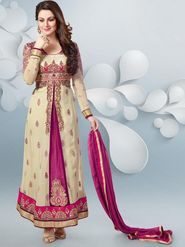 Adah Fashions Georgete Embroidered Semi Stitched Anarkali Dress Material - Cream & Magenta_623-4005
