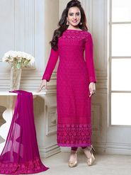 Adah Fashions Georgette Embroidered Semi Stitched A-Line Dress Material - Pink_632-2601