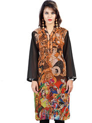 Admyrin Georgette Printed Kurti - Orange & Black - 1275