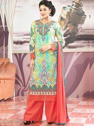 Admyrin Cambric Cotton Printed Dress Material - Multicolour - 7008