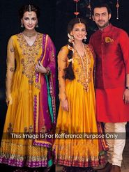 Arisha Silk Embroidered Semi-Stitched Anarkali Suit - Yellow