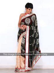 Arisha Georgette Embroidered Saree - Black And Beige