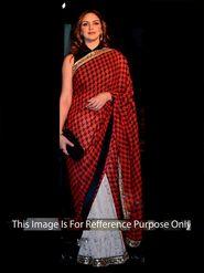 Arisha Net Embroidered Saree - Red And White