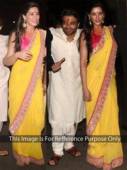 Arisha Net Embroidered Saree - Yellow - 406