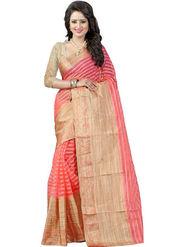 Bhuwal Fashion Plain Cotton Silk Peach Saree -Bfbnd8001