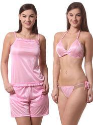 Set Of 4 Being Fab Satin Lycra Solid Nightwear -fbl23