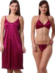 Set Of 3 Being Fab Satin Lycra Solid Nightwear -fbl39