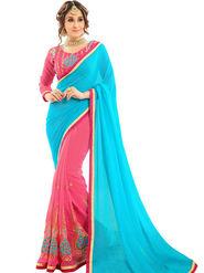 Zoom Fabrics Georgette Embroidered Designer Pink & Cyan Saree - BHNEERJAFIVE1014