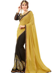 Zoom Fabrics Georgette Embroidered Designer Black & Yellow Saree - BHNEERJAFIVE1018