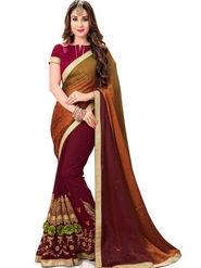 Zoom Fabrics Georgette Embroidered Designer Marron Saree - BHNORITA1301