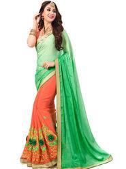 Zoom Fabrics Georgette Embroidered Designer Peach & Green Saree - BHNORITA1302