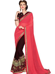 Zoom Fabrics Georgette Embroidered Designer Brown & Coral Saree - BHSHREYA1101