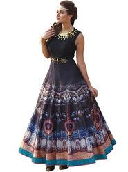 Styles Closet Embroidered Pure Bhagalpuri Semi-Stitched Black Suit -Bnd-10015