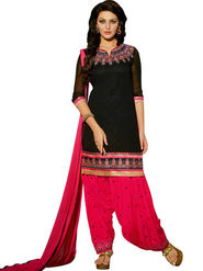 Styles Closet Embroidered Georgette Semi-Stitched Black Suit -Bnd-5169
