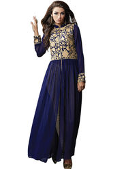 Styles Closet Embroidered Geogette Semi-Stitched Blue Suit -Bnd-6095