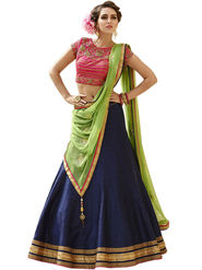 Styles Closet Embroidery Banglori Silk Blue Lehenga - BND-7023