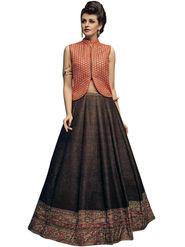Styles Closet Bangalori Silk Brown Semi-Stitched Lehenga Choli -Bnd-7027