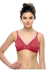 Clovia Cotton and Lace Solid Bra -BR0238P14