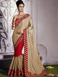 Bahubali Satin Chiffon Embroidered Saree - Cream