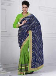 Bahubali Viscose Embroidered Saree - Violet - GA.50206