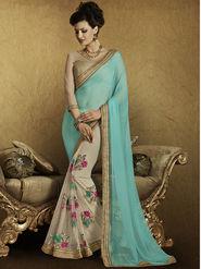 Bahubali Georgette Embroidered Saree - Cyan - RA.10220