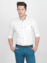 Basics Printed Slim Fit Cotton Casual Full Sleeves Shirt for Men - White
