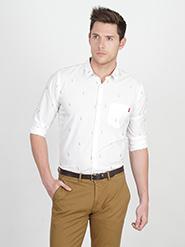 Basics Printed Slim Fit Cotton Casual Full Sleeves Shirt for Men - White - 12377957