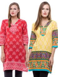 Pack Of 2 100% Cotton Printed Kurti - 12453343