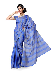 Self Printed Bhagalpuri Silk Saree - Blue