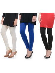 Combo of 3 Lavennder Woolen Off-White  Blue  Black Leggings -lvn06
