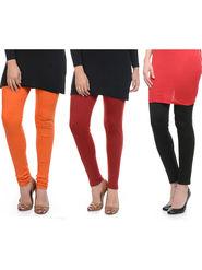 Combo of 3 Lavennder Woolen Orange Maroon Black Leggings -lvn03