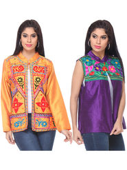 Pack of 2 Lavennder Embroidered Silk Jackets -lca02