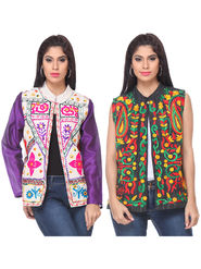 Pack of 2 Lavennder Embroidered Khadi Jackets -lca04