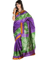 Carah Art Silk Printed Saree - Purple And Green