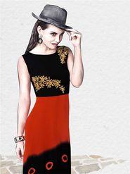 Viva N Diva Pure Viscose Georgette Floral Embroidery Kurtis -Chisel-32