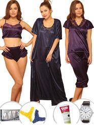 Set of 14 Clovia Satin Plain Nightwear - NSC299G99