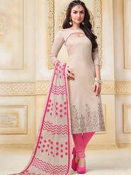 Viva N Diva Semi Stitched Banarasi Chanderi Embroidered Suit  Color-Blossom-03-1048