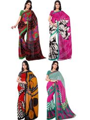 Pack of 4 Florence Printed Faux Georgette Sarees fs07