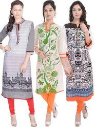 Pack of 3 Shop Rajasthan Printed cotton Kurti -SREN9005