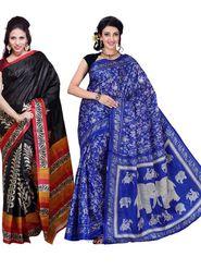 Combo Of 2 Ishin Art Silk Printed Saree
