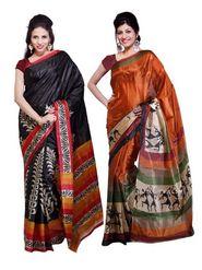 Combo Of 2 Ishin Art Silk Printed Saree - 12445690